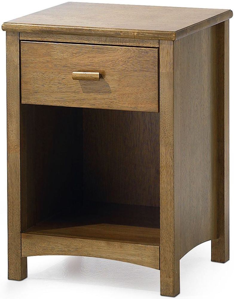 Serene Hevea Wood Eleanor Honey Oak Bedside Cabinet - 1 Drawer