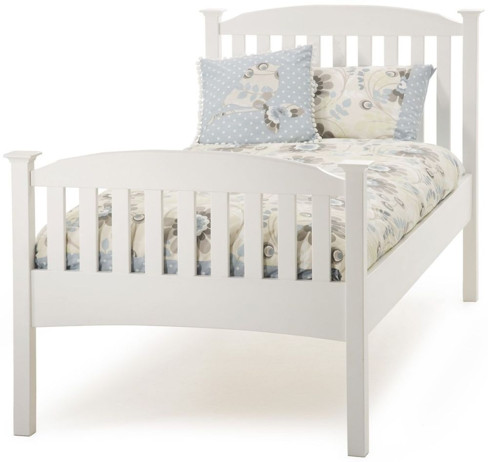 Serene Hevea Wood Eleanor Opal White Bed - 3ft Single High Foot End