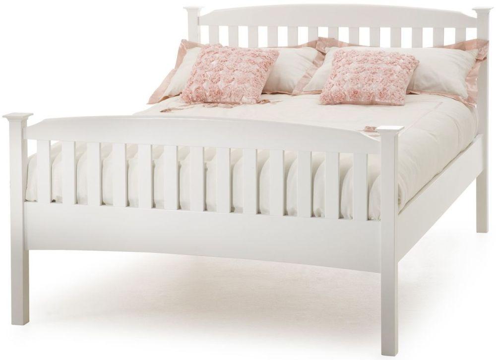 Serene Hevea Wood Eleanor Opal White High Foot End Bed