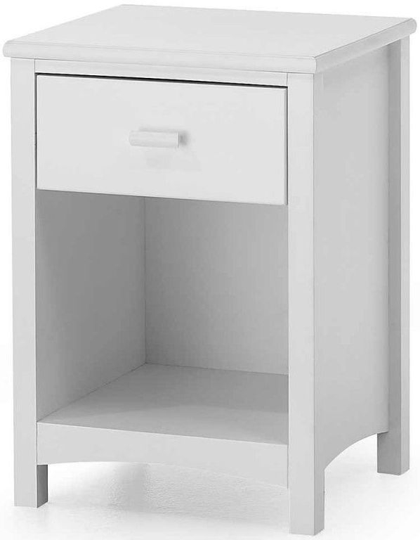 Serene Eleanor Hevea Wood Opal White 1 Drawer Bedside Cabinet