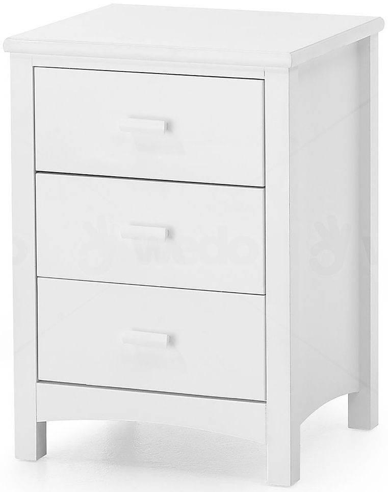 Serene Hevea Wood Eleanor Opal White Bedside Cabinet - 3 Drawer