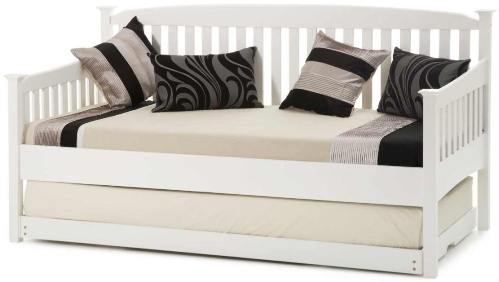 Serene Hevea Wood Eleanor Opal White Day Bed with Guest Bed