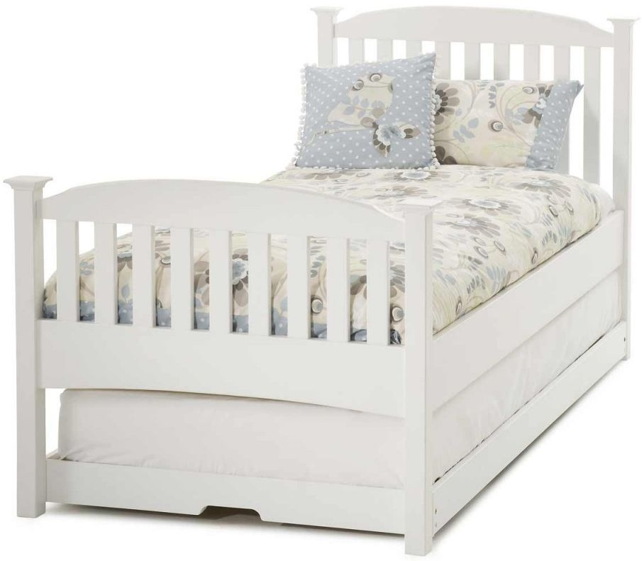 Serene Hevea Wood Eleanor Opal White Guest Bed - High Foot End