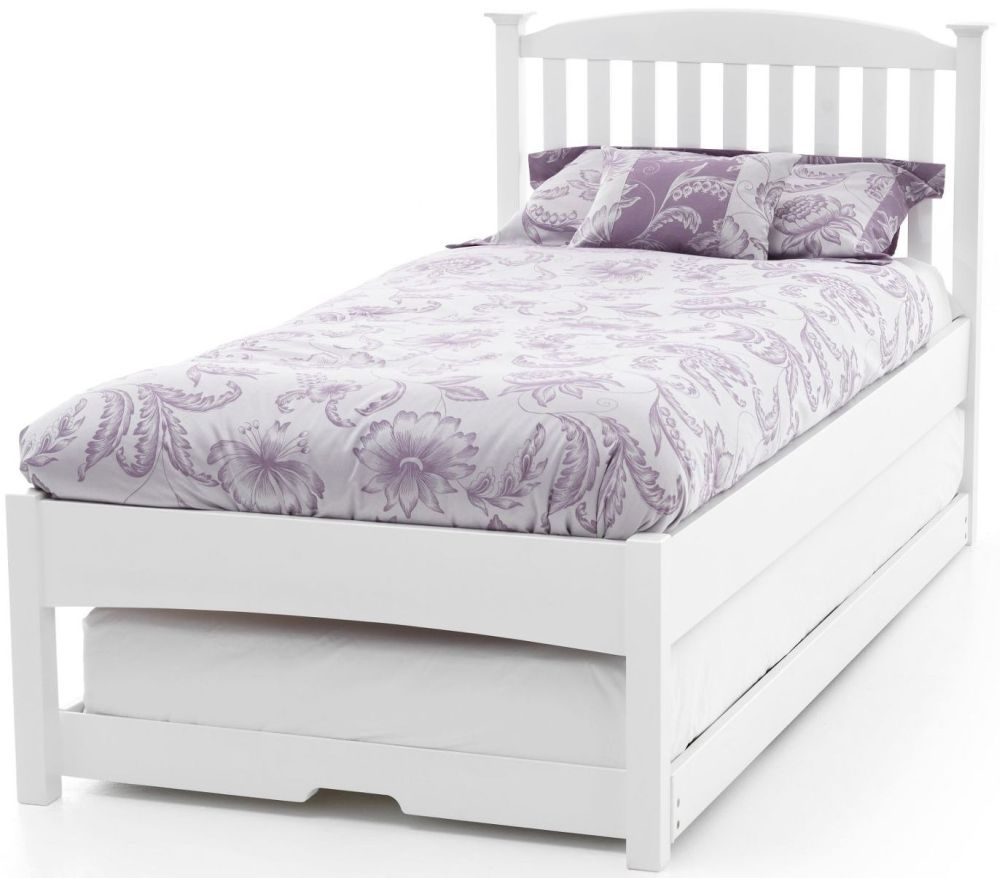 Serene Hevea Wood Eleanor Opal White Guest Bed - Low Foot End