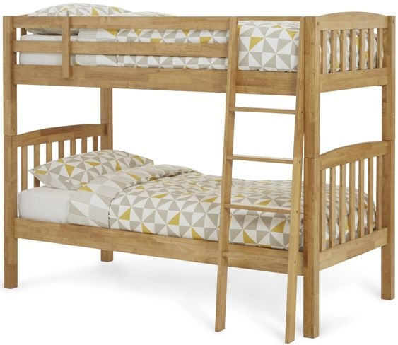 Serene Ella Hevea Wood Honey Oak Bunk Bed