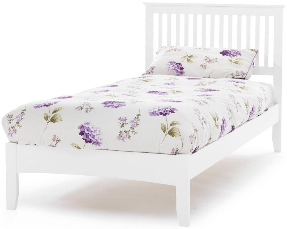 Serene Hevea Wood Freya Opal White Bed - 6ft Queen Size