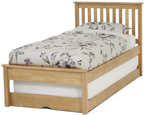 Serene Heather Hevea Wood Honey Oak Guest Bed