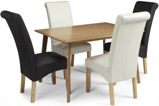Serene Hillingdon Oak Dining Set - 120cm with 2 Kingston Cream and 2 Brown Faux Leather Chairs