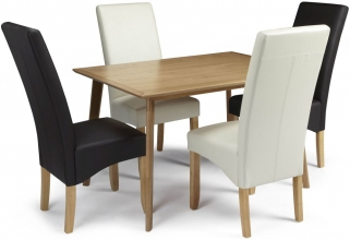 Serene Hillingdon Oak Dining Set - 120cm with 2 Merton Brown and 2 Cream Faux Leather Chairs