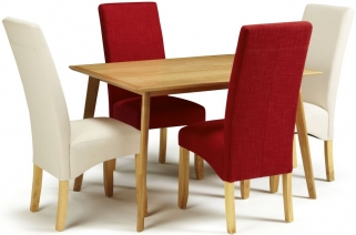 Serene Hillingdon Oak Dining Set - 120cm with 2 Merton Putty and 2 Scarlet Chairs