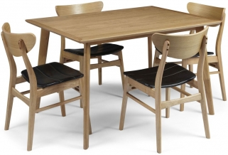 Serene Hillingdon Oak Dining Set - 120cm with 4 Camden Oak Chairs