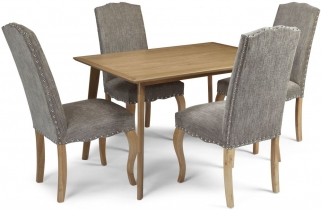 Serene Hillingdon Oak Dining Set - 120cm with 4 Kensington Bark Chairs