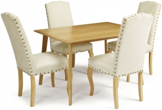 Serene Hillingdon Oak Dining Set - 120cm with 4 Kensington Pearl Chairs
