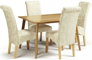 Serene Hillingdon Oak Dining Set - 120cm with 4 Kingston Cream Floral Chairs