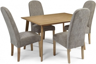 Serene Hillingdon Oak Dining Set - 120cm with 4 Marlow Bark Chairs