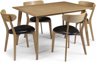 Serene Hillingdon Oak Dining Set - 120cm with 4 Newham Chairs