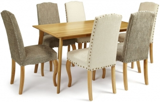 Serene Hillingdon Oak Dining Set - 150cm with 3 Kensington Pearl and 3 Bark Chairs