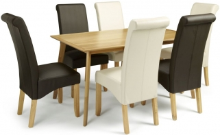 Serene Hillingdon Oak Dining Set - 150cm with 3 Kingston Cream and 3 Brown Faux Leather Chairs