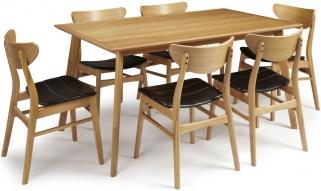 Serene Hillingdon Oak Dining Set - 150cm with 6 Camden Oak Chairs