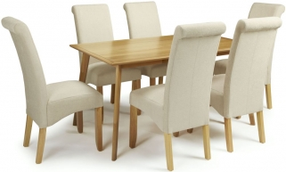 Serene Hillingdon Oak Dining Set - 150cm with 6 Kingston Cream Plain Chairs