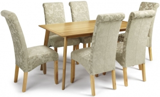 Serene Hillingdon Oak Dining Set - 150cm with 6 Kingston Sage Floral Chairs