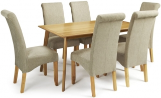 Serene Hillingdon Oak Dining Set - 150cm with 6 Kingston Sage Plain Chairs
