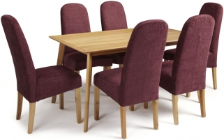 Serene Hillingdon Oak Dining Set - 150cm with 6 Marlow Shiraz Chairs
