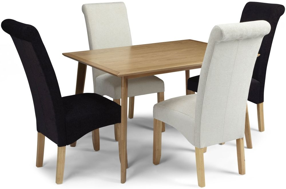 Serene Hillingdon Oak Dining Set - 120cm with 2 Kingston Cream Plain and 2 Aubergine Plain Chairs