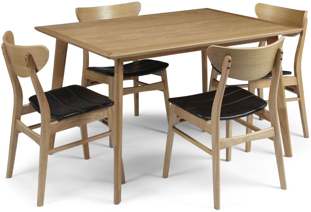 Serene Hillingdon Oak Dining Set - 120cm with 4 Camden Oak Chairs