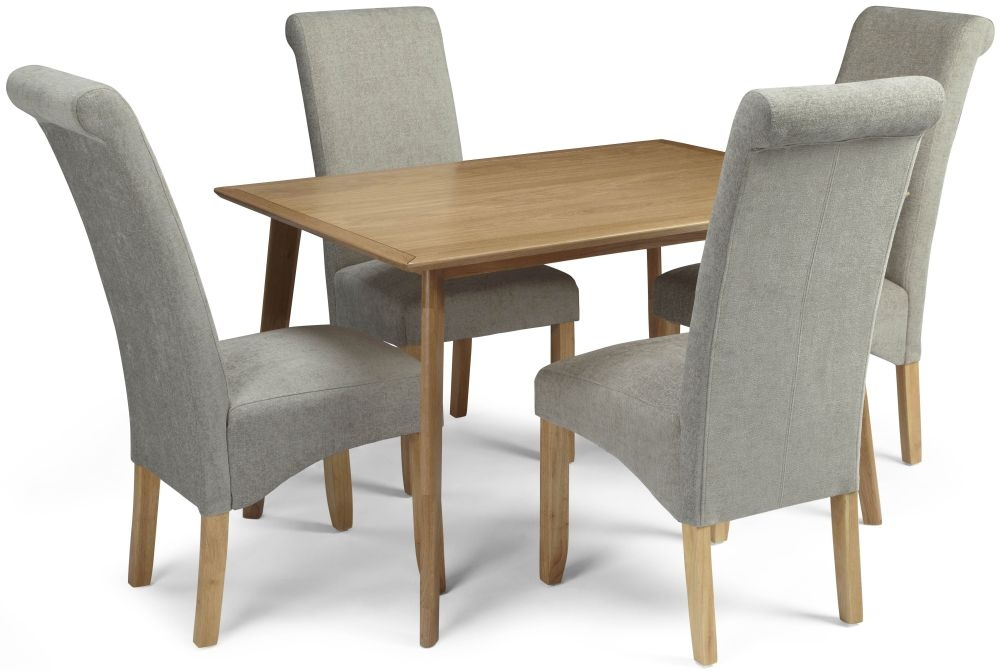 Serene Hillingdon Oak Dining Set - 120cm with 4 Kingston Sage Plain Chairs