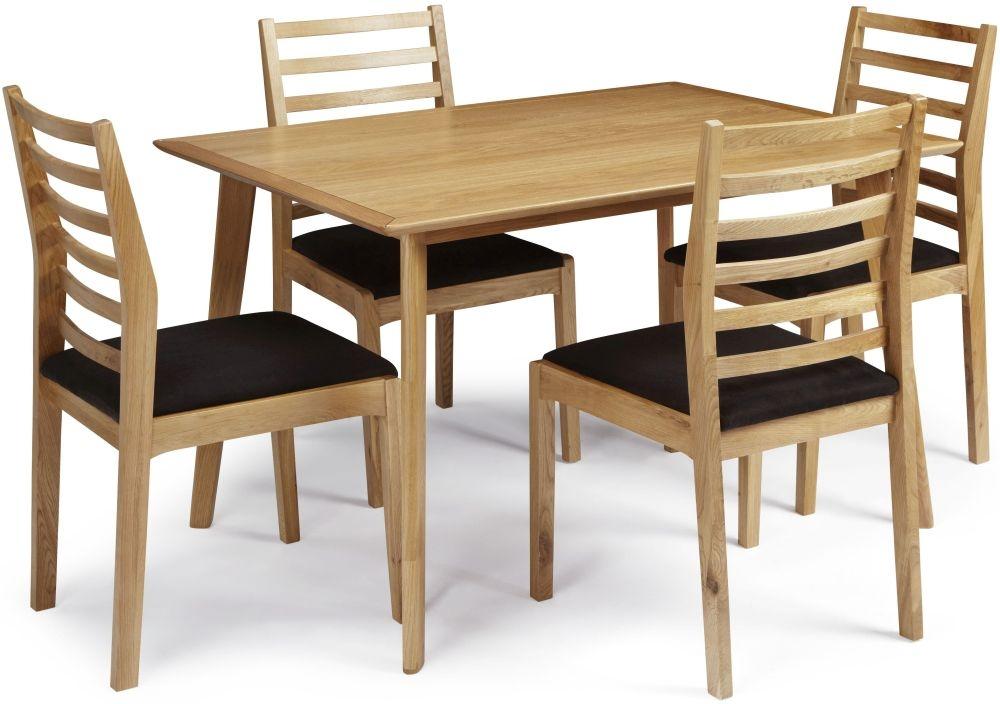 Serene Hillingdon Oak Dining Set - 120cm with 4 Lewisham Chairs