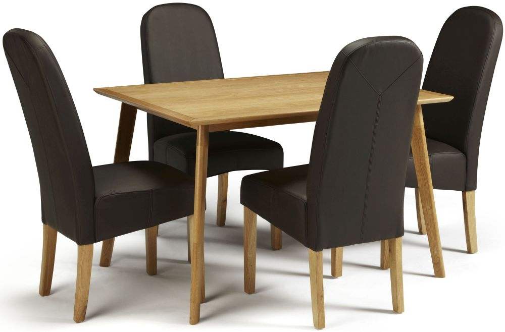 Serene Hillingdon Oak Dining Set - 120cm with 4 Marlow Brown Faux Leather Chairs