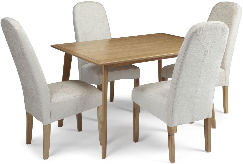 Serene Hillingdon Oak Dining Set - 120cm with 4 Marlow Pearl Chairs