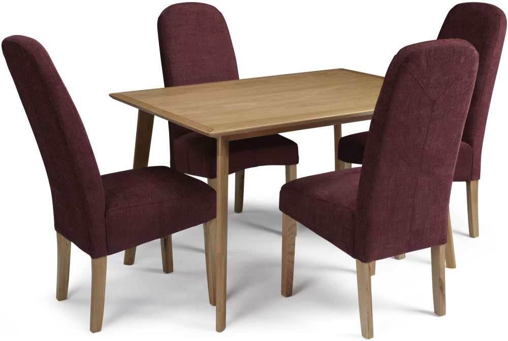 Serene Hillingdon Oak Dining Set - 120cm with 4 Marlow Shiraz Chairs