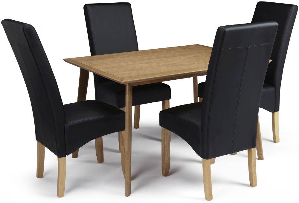 Serene Hillingdon Oak Dining Set - 120cm with 4 Merton Black Faux Leather Chairs