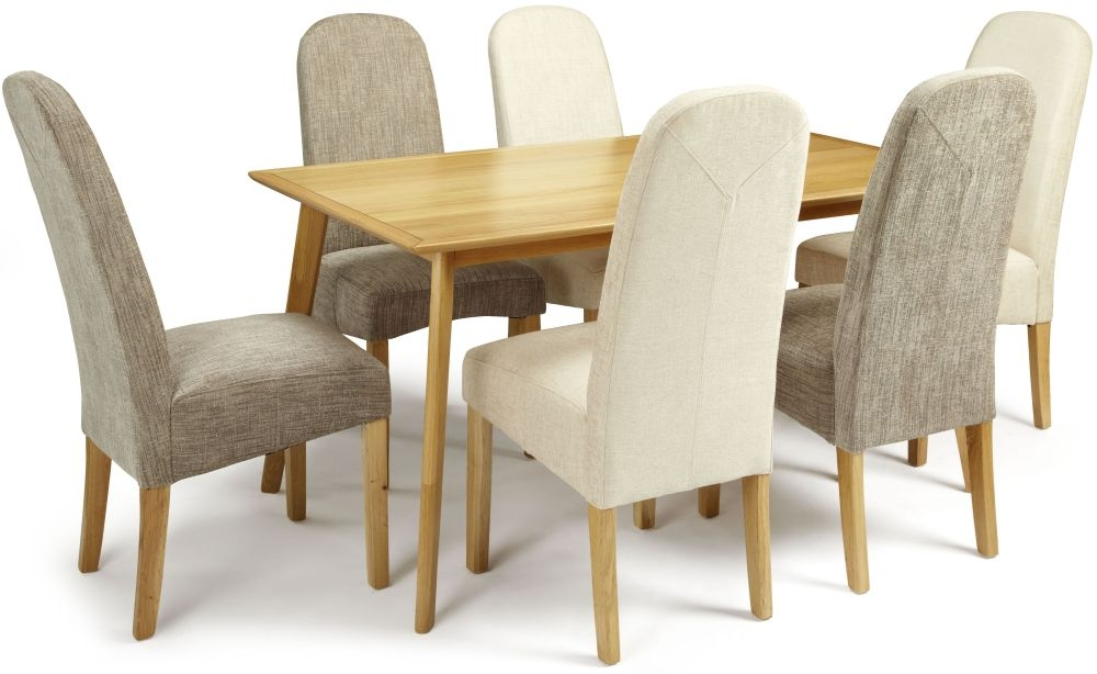 Serene Hillingdon Oak Dining Set - 150cm with 3 Marlow Bark and 3 Pearl Chairs