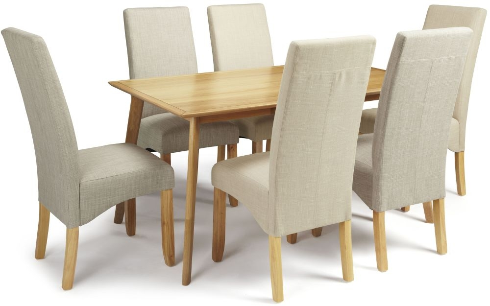 Serene Hillingdon Oak Dining Set - 150cm with 3 Merton Linen and 3 Stone Chairs
