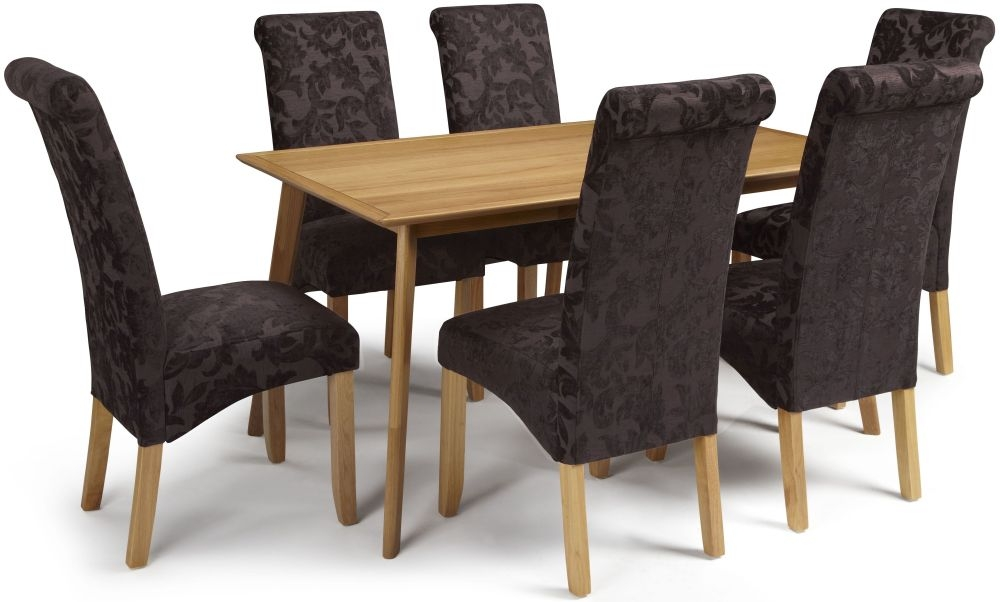Serene Hillingdon Oak Dining Set - 150cm with 6 Kingston Aubergine Floral Chairs