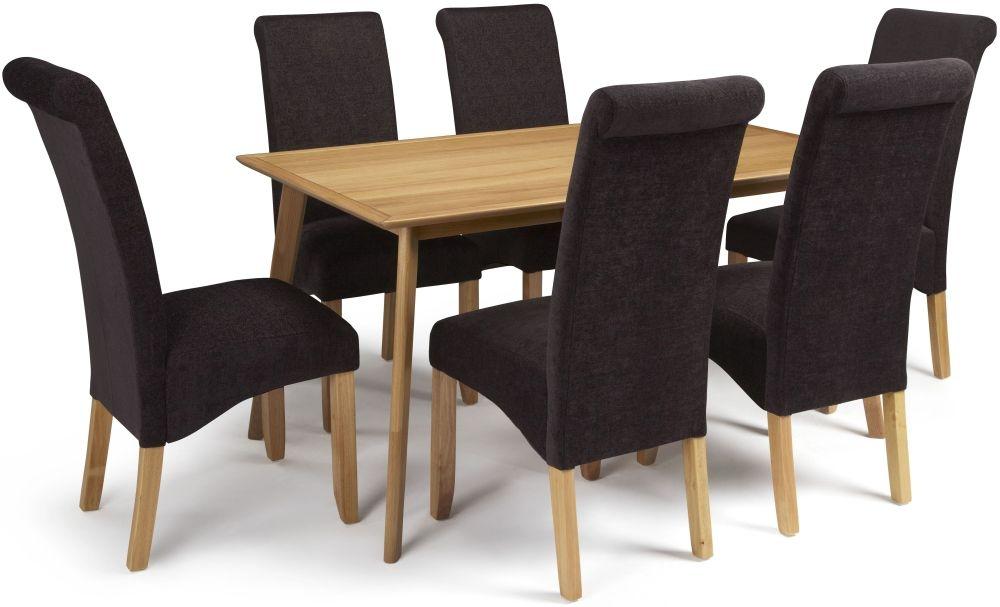 Serene Hillingdon Oak Dining Set - 150cm with 6 Kingston Aubergine Plain Chairs