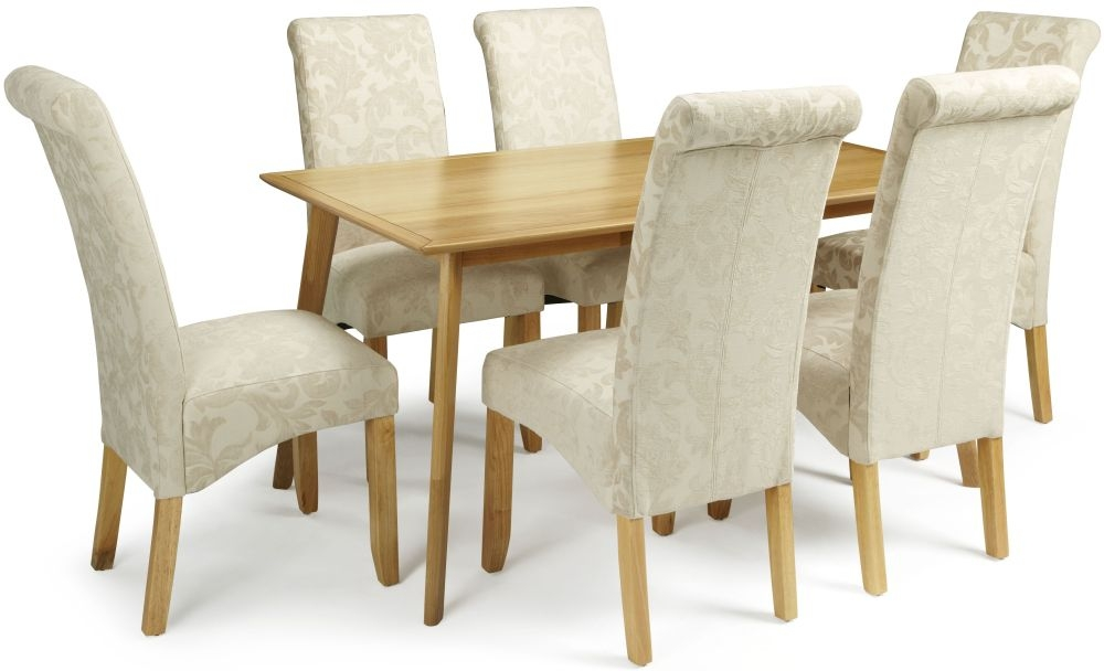 Serene Hillingdon Oak Dining Set - 150cm with 6 Kingston Cream Floral Chairs