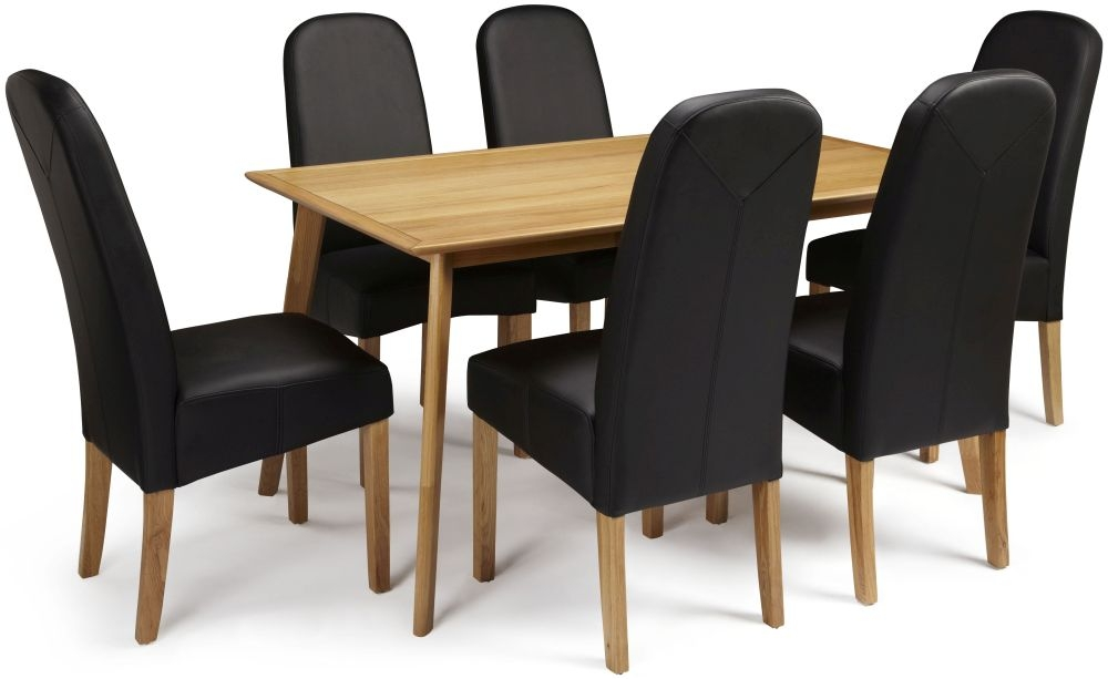 Serene Hillingdon Oak Dining Set - 150cm with 6 Marlow Black Faux Leather Chairs