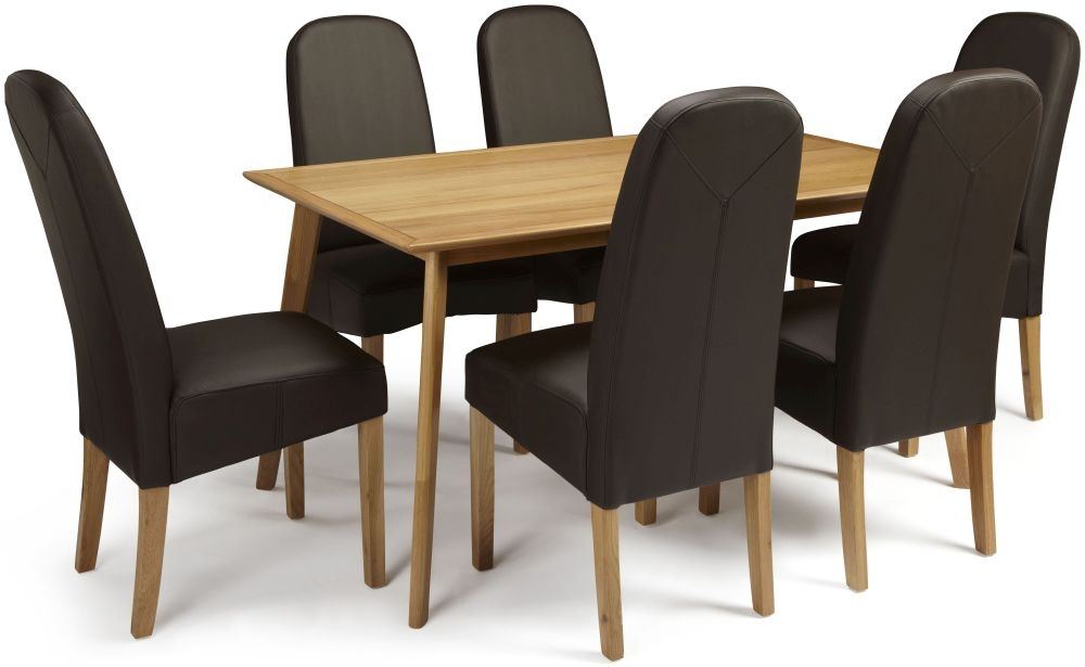 Serene Hillingdon Oak Dining Set - 150cm with 6 Marlow Brown Faux Leather Chairs