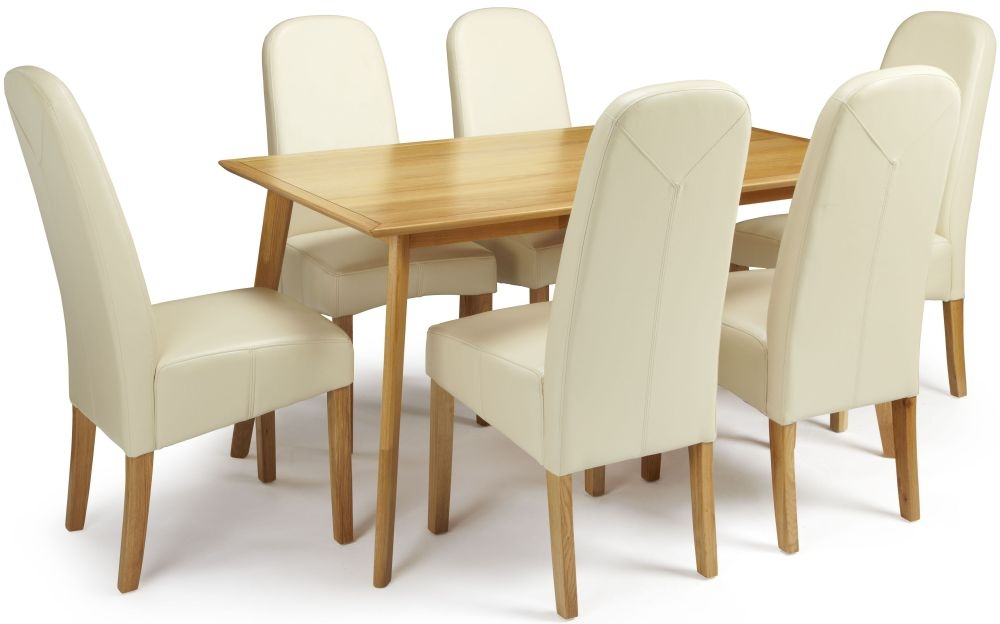 Serene Hillingdon Oak Dining Set - 150cm with 6 Marlow Cream Faux Leather Chairs