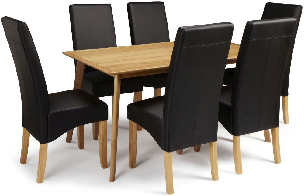 Serene Hillingdon Oak Dining Set - 150cm with 6 Merton Black Faux Leather Chairs