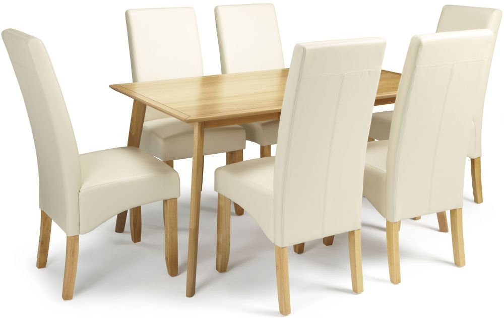 Serene Hillingdon Oak Dining Set - 150cm with 6 Merton Cream Faux Leather Chairs