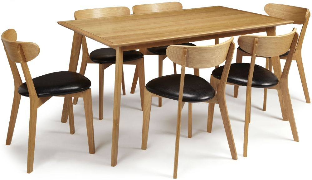 Serene Hillingdon Oak Dining Set - 150cm with 6 Newham Chairs