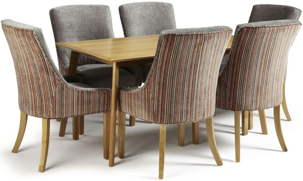 Serene Hillingdon Oak Dining Set - 150cm with 6 Richmond Orange Steel Chairs