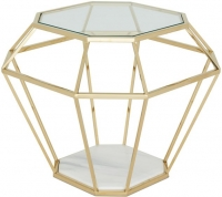 Serene Iris Lamp Table - Glass and Gold