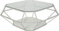 Serene Iris Stainless Steel and Glass Coffee Table