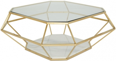 Serene Iris Coffee Table - Glass and Gold